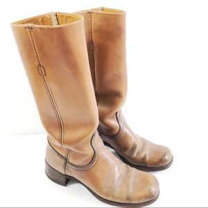 Vintage Frye Tan Leather Motorcycle Riding Boots